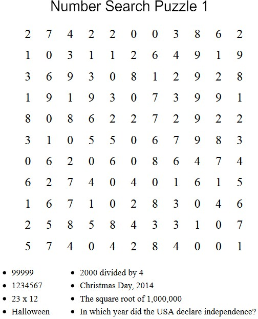 Free Puzzles to Print Number Search Puzzle 1